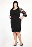 Женское черное платья красивыми рукавами из кружева размеры 52,54,56,58