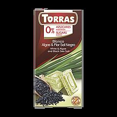 Шоколад TORRAS Algas&Flor Sal Negra (Белый с морскими водорослями и черной солью) 75г (48шт/ящ)