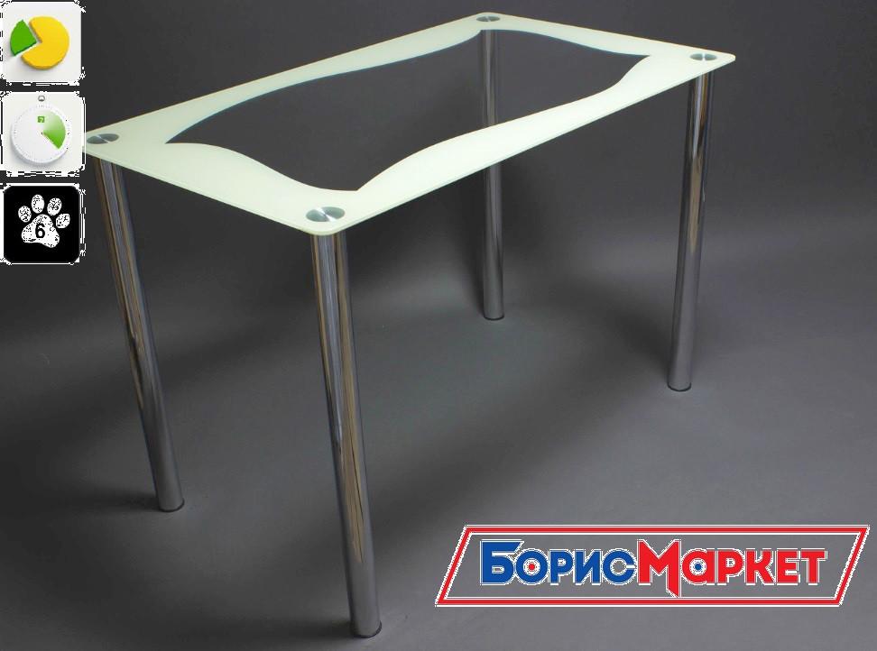 Обеденный стол стеклянный с прямоугольной столешницей Волна от БЦ-Стол 1100х650
