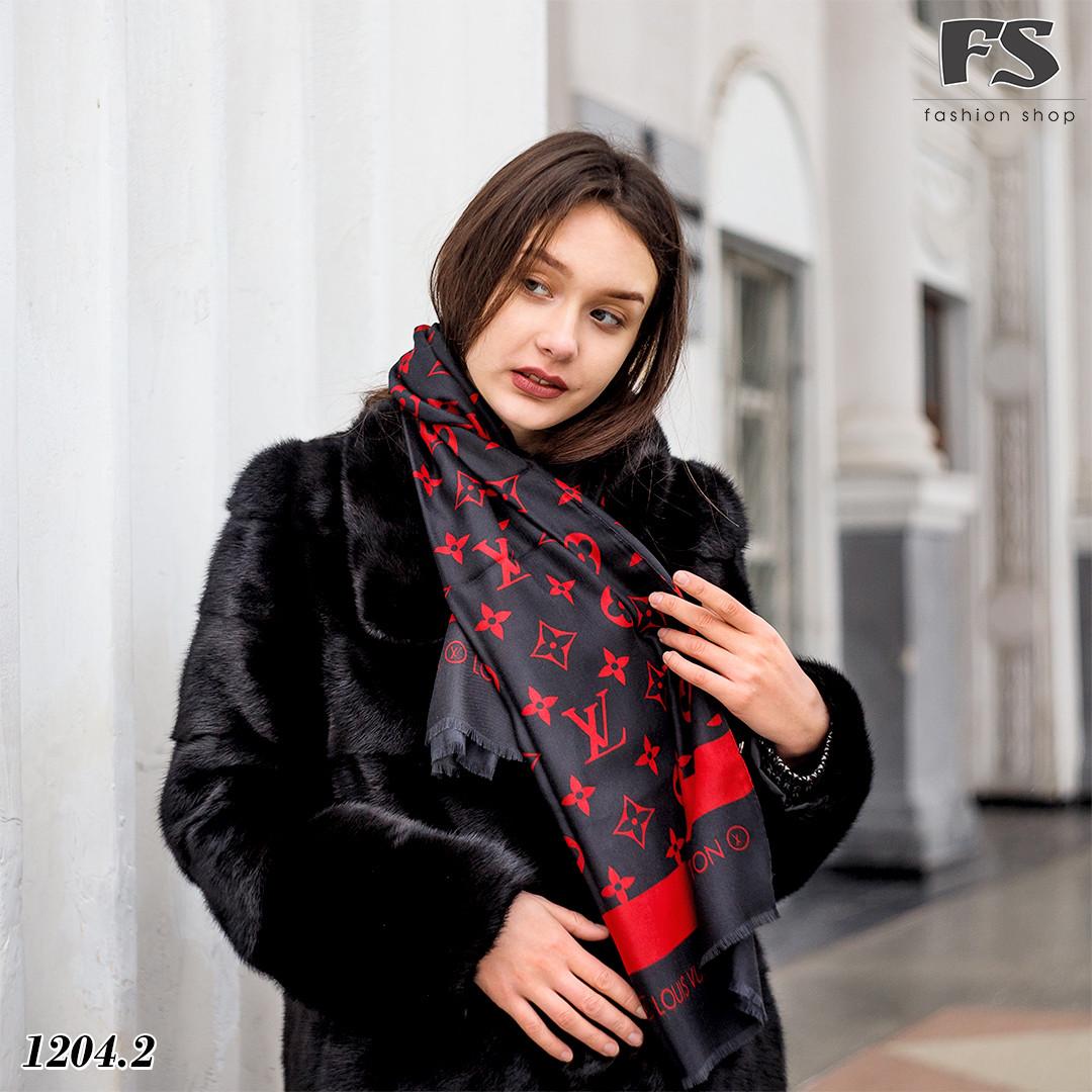 Чёрно-красный стильный шарф Louis Vuitton (реплика)
