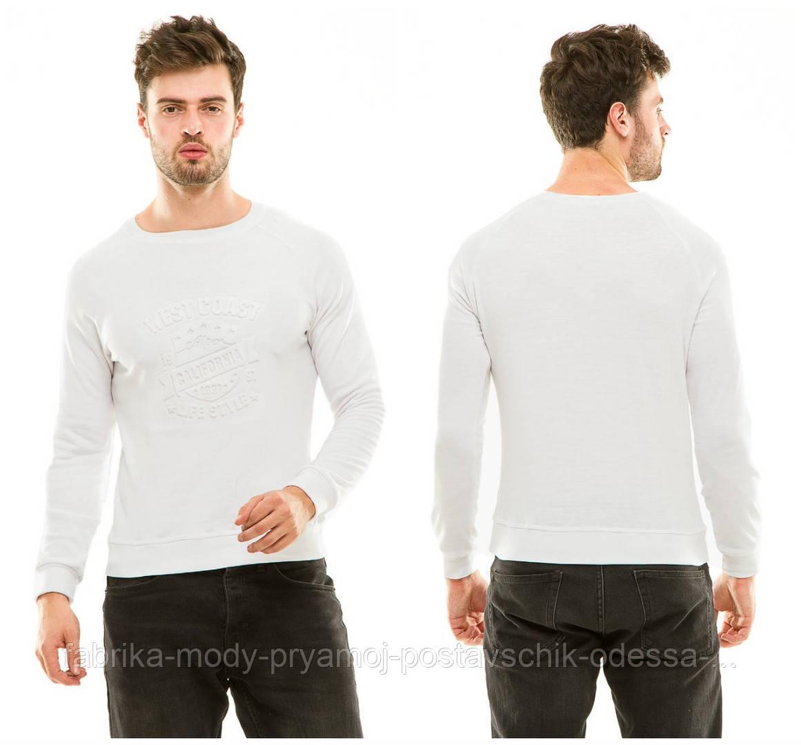 Реглан мужской теплый джерси начес белый