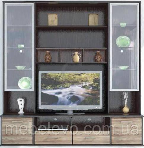 Гербор Амадеус секция под ТВ витрина матовая  2190х2100х505мм венге магия