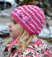 Шапка для девочки Арктик Веер, т.розовый, вязка (р.46-52)