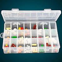 Пластиковый органайзер с крышкой для украшений и мелочей на 24 ячейки