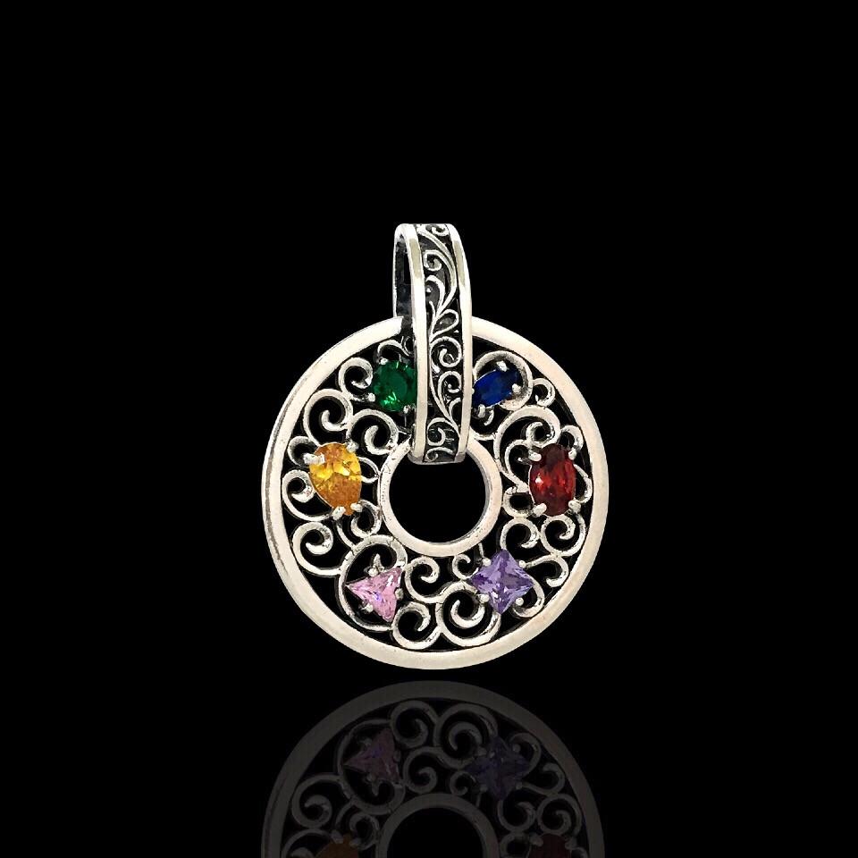 Серебряная подвеска с цветными фианитами, 6 камней