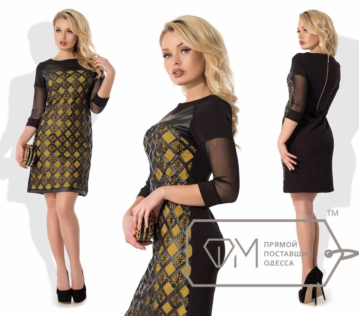 Платье с кожаной отделкой