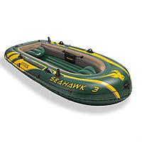 Трехместная надувная лодка Intex Seahawk 3 68349 Зеленая (10-103-68349)