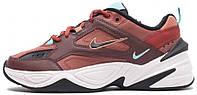 """Женские кроссовки Nike M2K Tekno """"Dark red/Turquoise"""" AO3108-200 (в стиле Найк) коричневые"""