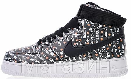 Мужские кроссовки Nike Air Force 1 High Just Do It Pack Black Найк Аир Форс 1 черные, фото 2