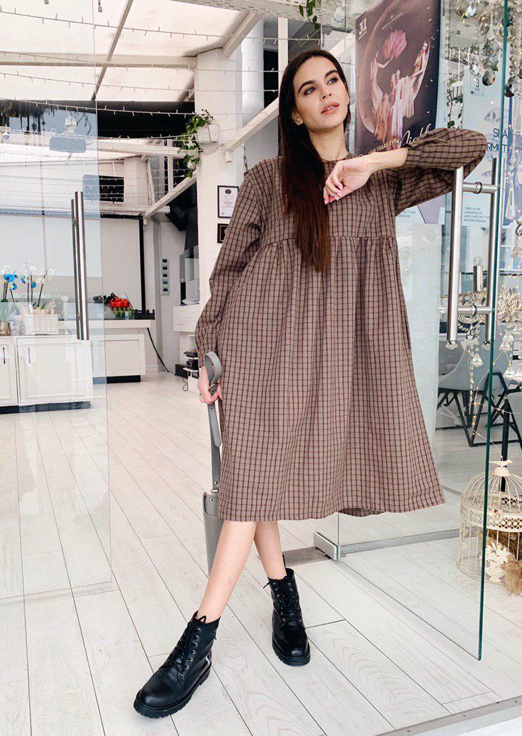 Коричневое байковое платье в клетку А2-071/1, р. SMLXL