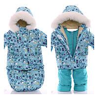 Детский костюм-тройка (конверт+курточка+полукомбинезон) Мятный снеговик
