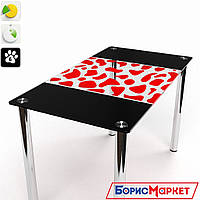 Обеденный стол стеклянный прямоугольный Долматинец от БЦ-Стол