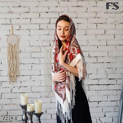 Павлопосадский кремовый  платок Миндаль, фото 2