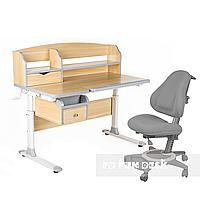 Комплект парта для подростка Sognare Grey + детское ортопедическое кресло Bravo Grey FunDesk, фото 1