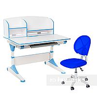 Комплект парта для подростка Trovare Blue с надстройкой + детское ортопедическое кресло LST1 Blue FunDesk, фото 1