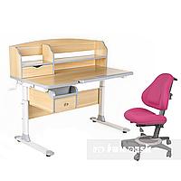 Комплект парта для подростка Sognare Grey + детское ортопедическое кресло Bravo Pink FunDesk, фото 1