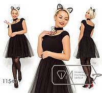 Пышное коктейльное платье с короткими рукавами, раз.42-46