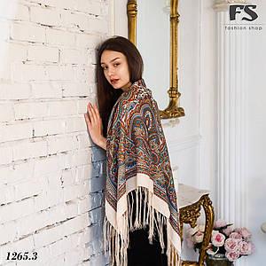 Бежевый павлопосадский шерстяной платок Таира