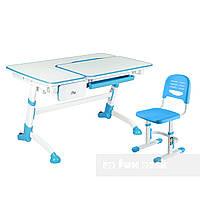 Комплект подростковая парта Amare Blue с выдвижным ящиком + детский стул SST3 Blue FunDesk , фото 1