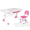 Комплект подростковая парта Amare Pink с выдвижным ящиком + детский стул SST3 Pink FunDesk