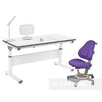 Комплект парта Creare Grey + детское ортопедическое кресло Bravo Purple FunDesk, фото 1