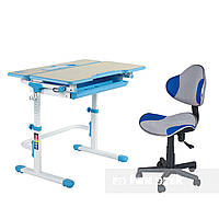 Комплект растущая парта Lavoro L Blue + детское кресло для школьника LST3 Blue-Grey FunDesk, фото 1