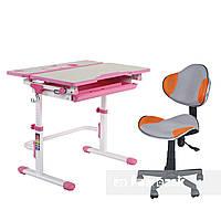Комплект растущая парта Lavoro L Pink + детское кресло для школьника LST3 Orange-Grey FunDesk, фото 1
