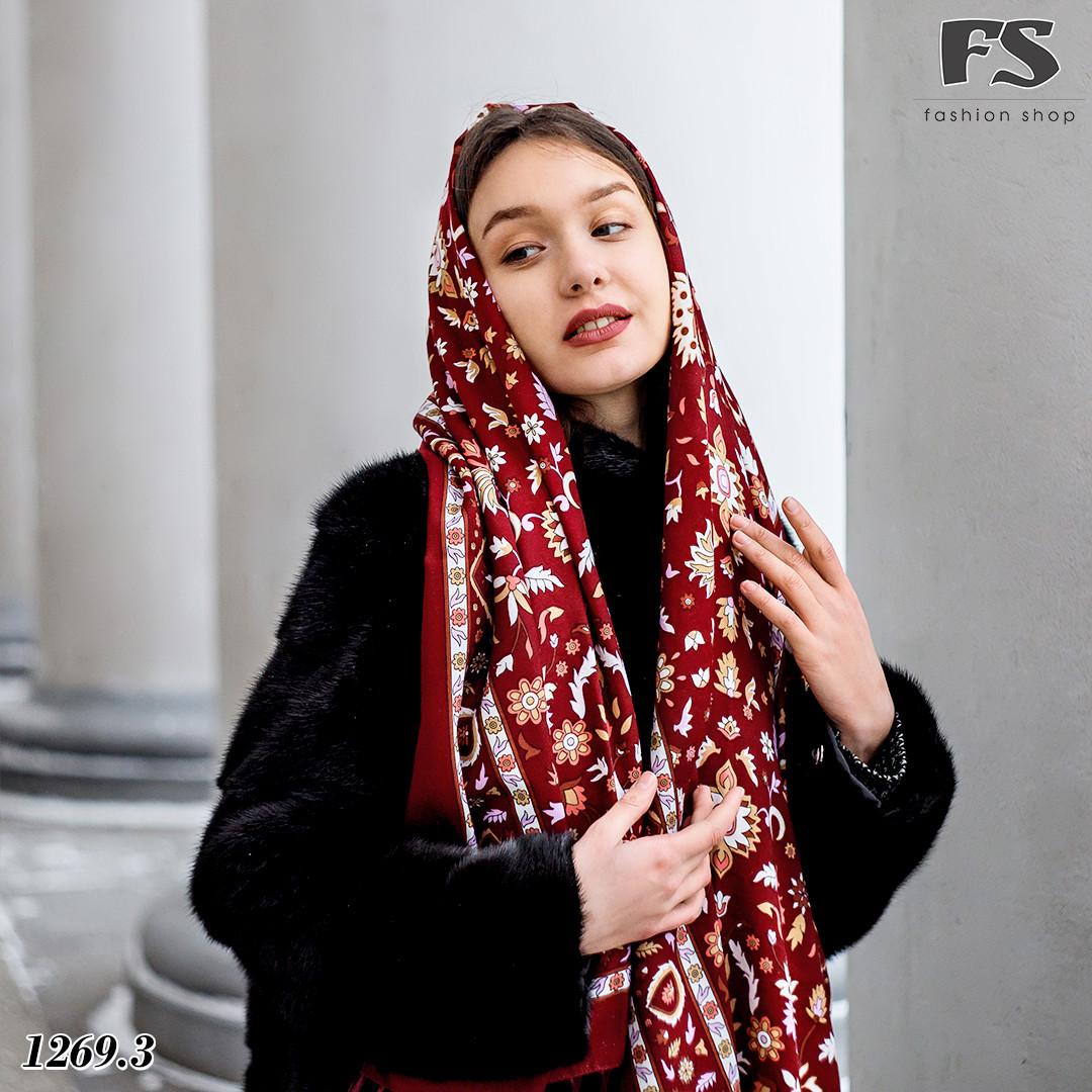 Женский шерстяной  павлопосадский палантин Медея