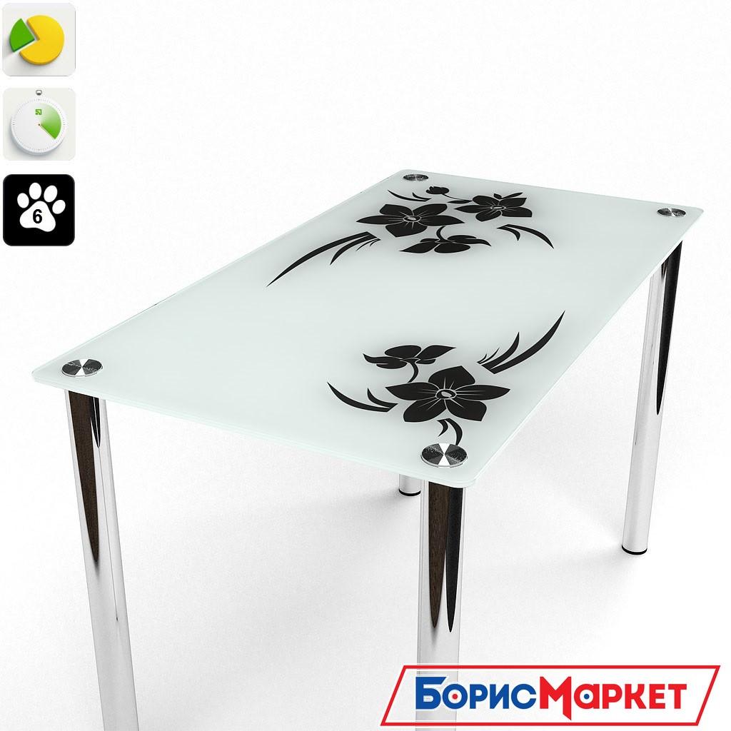 Обеденный стол стеклянный прямоугольный Магнолия от БЦ-Стол