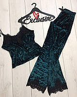 Изумрудная брючная пижама мраморный велюр