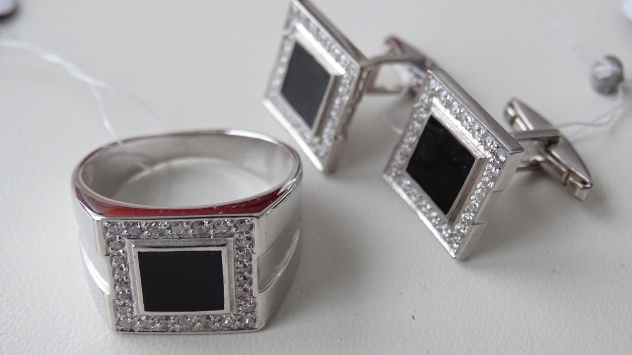 Серебряные запонки с эмалью и фианитами