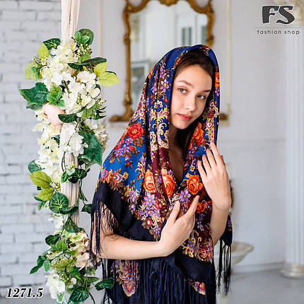 Шерстяной павлопосадский платок Услада, фото 2