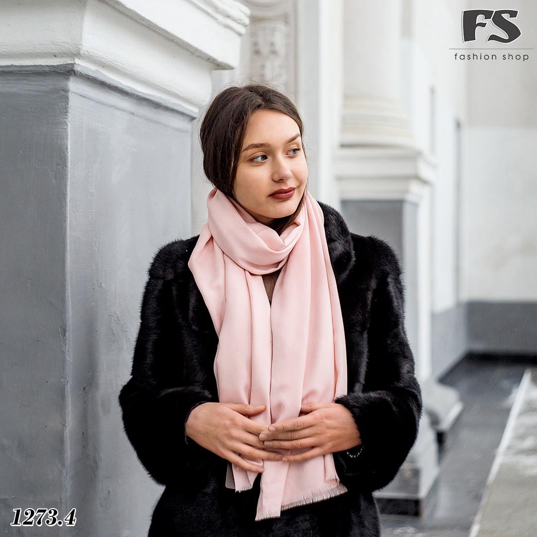 Кашемировый  розовый  стильный шарф Донна