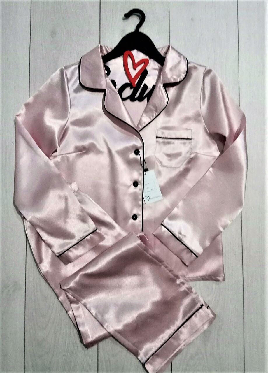 Атласный пижама с кантом штаны и рубашка 031, пижамы женские.