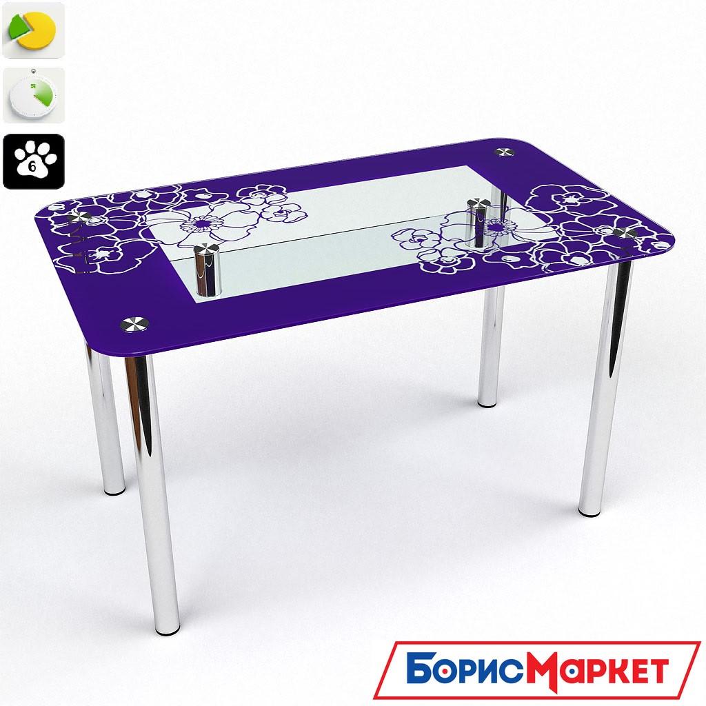 Обеденный стол стеклянный прямоугольный Маки S-2 от БЦ-Стол 910х610 *Эко