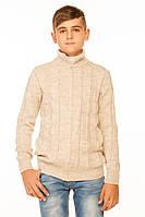 Вязаная кофта на молнии для мальчика бежевого цвета 140-152р