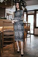 Леопардовое платье CAROLINE длиной ниже колена и с завышенной талией