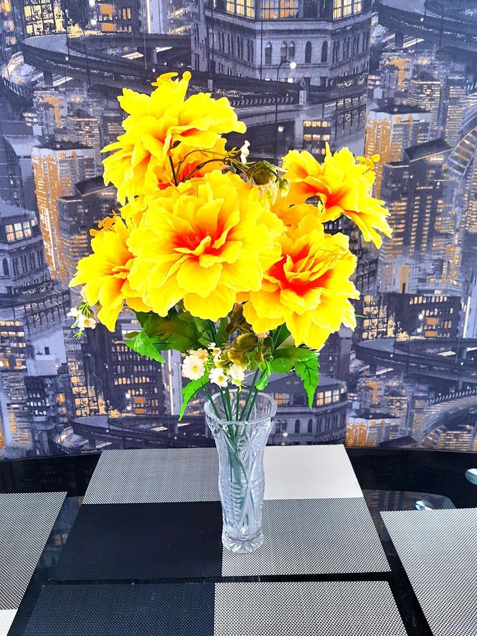 Букет пиона на 7 голов с папоротником N265 (14 шт./ уп.) Искусственные цветы оптом