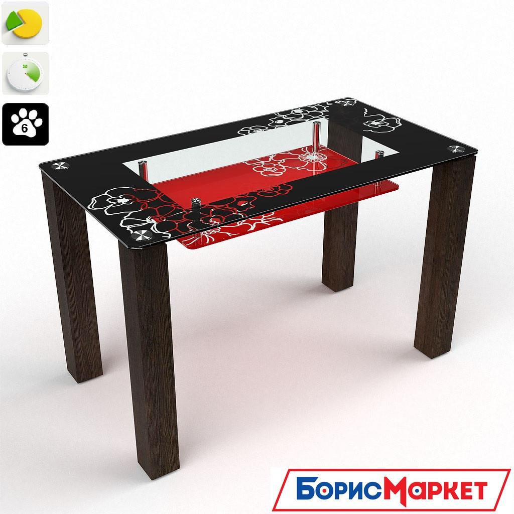 Обеденный стол стеклянный прямоугольный Маки (с полкой) от БЦ-Стол 910х610 *Эко