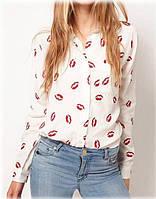 Блузка с губами Рубашка Блуза