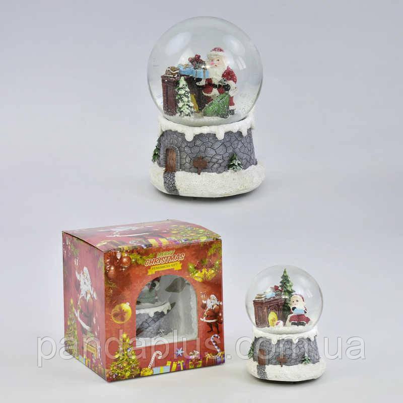 Сувенир Новогодний шар со снегом С 30170 (24) музыкальный, заводной механизм, 2 вида, в коробке