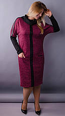 Женское трикотажное платье бордового цвета на каждый день размеры: 50-52,54-56,58-60,62-64, фото 2