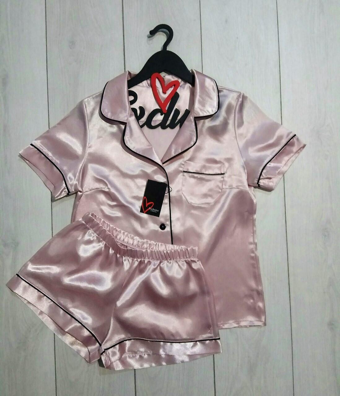 Атласный женский комплект рубашка с шортами ТМ Exclusive.