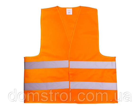 Жилет со светоотр. лентой Китай (цвет оранж) состав polyester 100% размер 4XL плотность ткани 120г/м2, фото 2