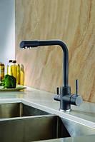 Смеситель для кухни Blue Water Amanda 44 (черный металлик) с каналом питьевой воды в корпусе смесителя
