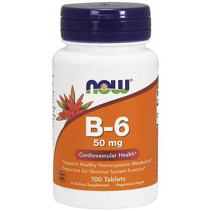 B-6 50 mg NOW Foods 100 Tabs, фото 2