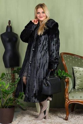 Шуба жіноча довга чорна шоколадна в розмірах 42-54, фото 2