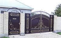 Металлические распашные въездные ворота с калиткой, код: К-0119