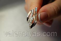 Ювелирные украшения - серебряное кольцо и серьги. Серебряные украшения с золотом., фото 2