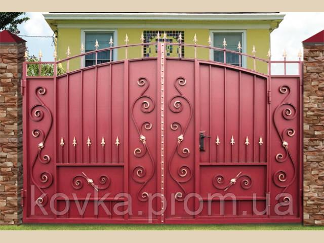 Металлические распашные ворота с калиткой, код: К-0116